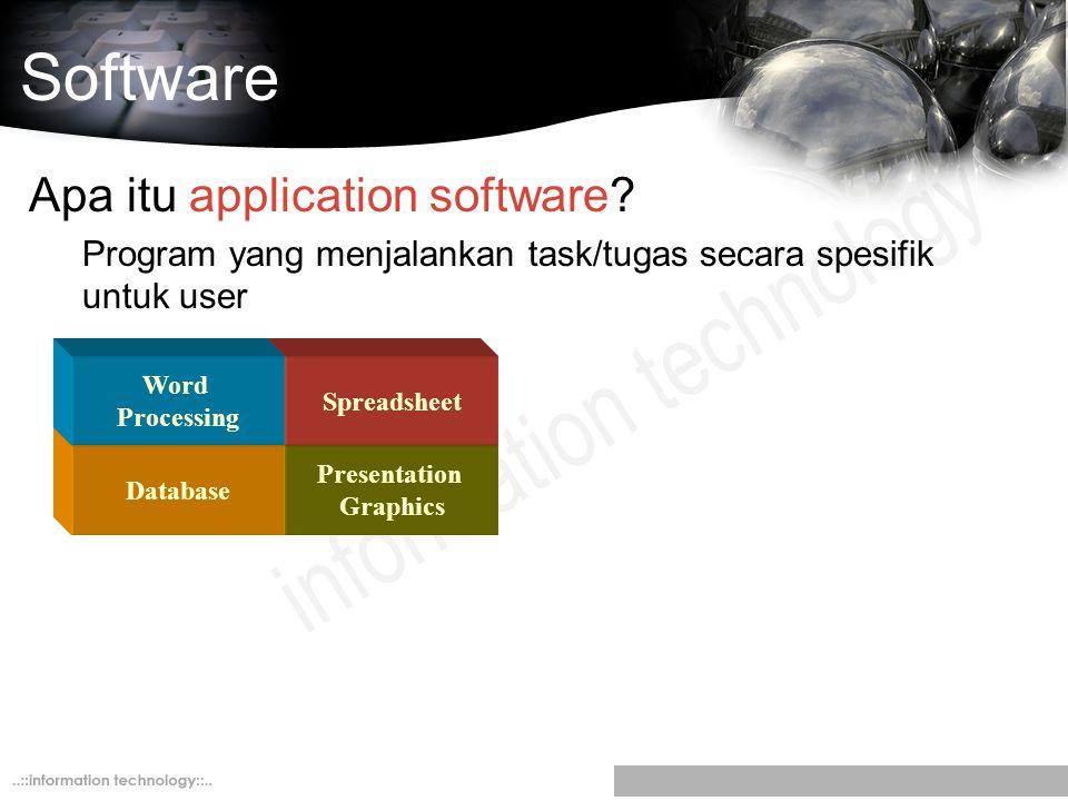 Software Apa itu application software? Program yang menjalankan task/tugas secara spesifik untuk user Presentation Graphics Spreadsheet Database Word