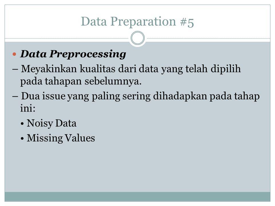 Data Preparation #5 Data Preprocessing – Meyakinkan kualitas dari data yang telah dipilih pada tahapan sebelumnya. – Dua issue yang paling sering diha