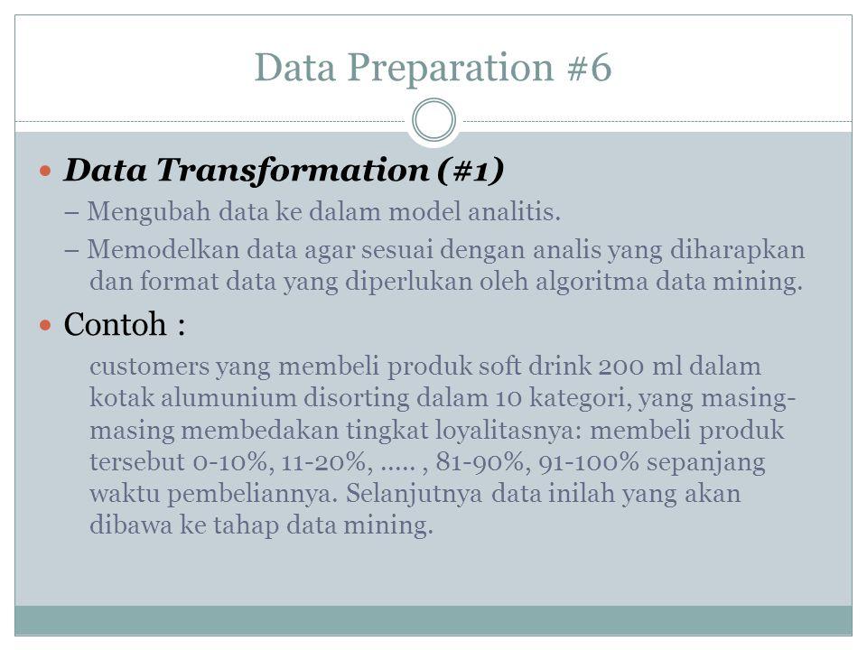 Data Preparation #6 Data Transformation (#1) – Mengubah data ke dalam model analitis. – Memodelkan data agar sesuai dengan analis yang diharapkan dan
