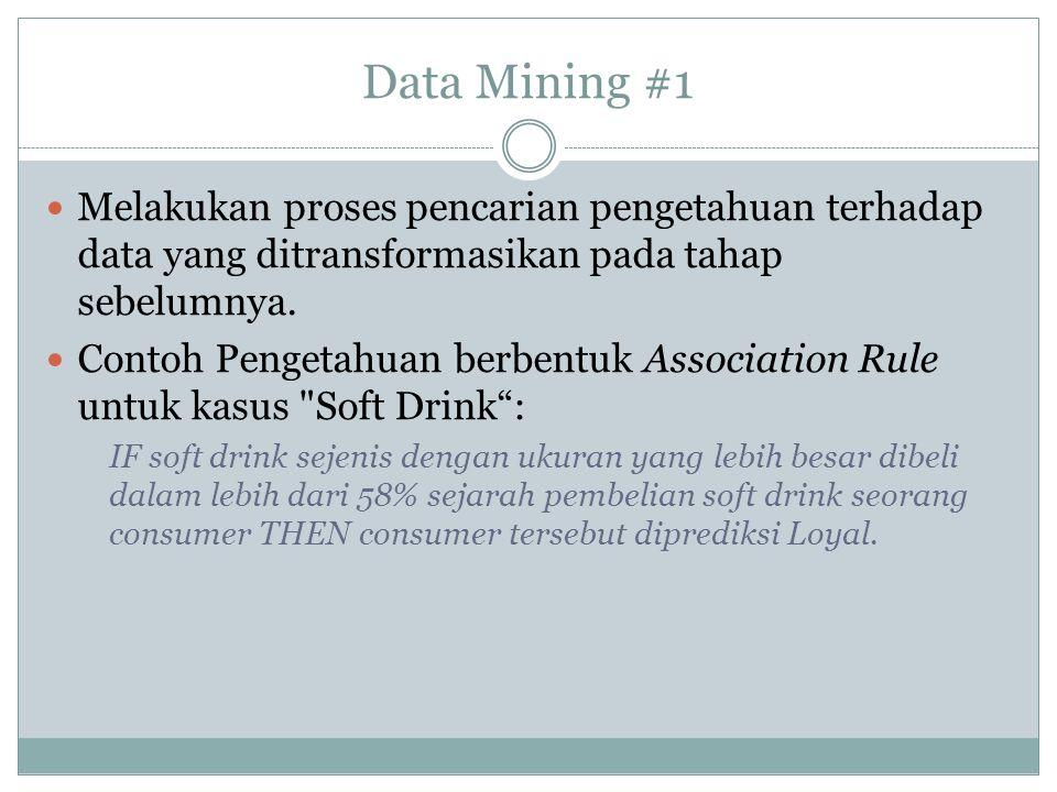 Data Mining #1 Melakukan proses pencarian pengetahuan terhadap data yang ditransformasikan pada tahap sebelumnya. Contoh Pengetahuan berbentuk Associa