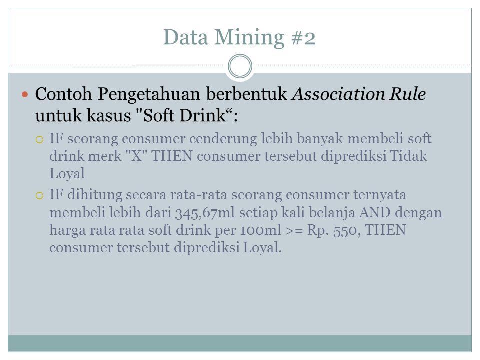 Data Mining #2 Contoh Pengetahuan berbentuk Association Rule untuk kasus
