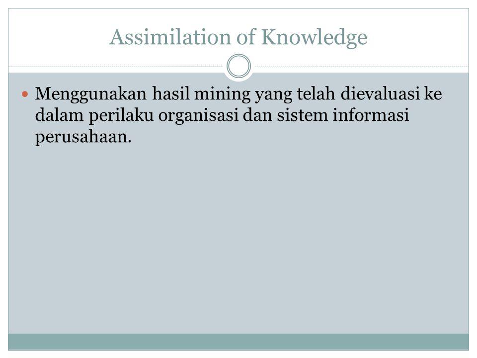 Assimilation of Knowledge Menggunakan hasil mining yang telah dievaluasi ke dalam perilaku organisasi dan sistem informasi perusahaan.