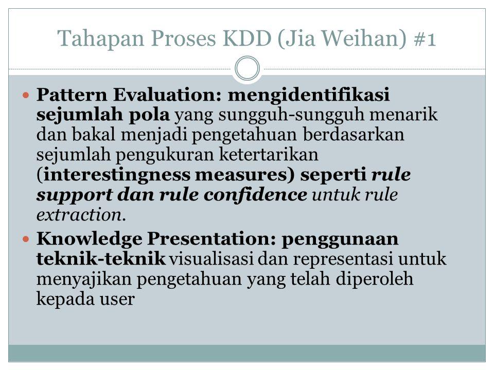 Tahapan Proses KDD (Jia Weihan) #1 Pattern Evaluation: mengidentifikasi sejumlah pola yang sungguh-sungguh menarik dan bakal menjadi pengetahuan berda