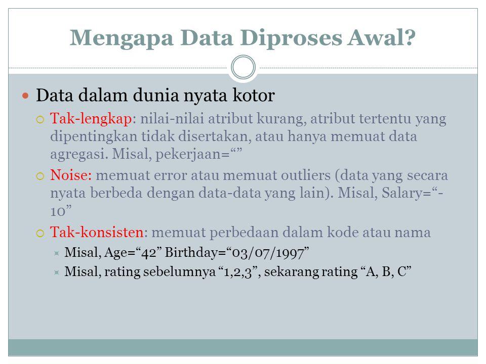 Mengapa Data Diproses Awal? Data dalam dunia nyata kotor  Tak-lengkap: nilai-nilai atribut kurang, atribut tertentu yang dipentingkan tidak disertaka