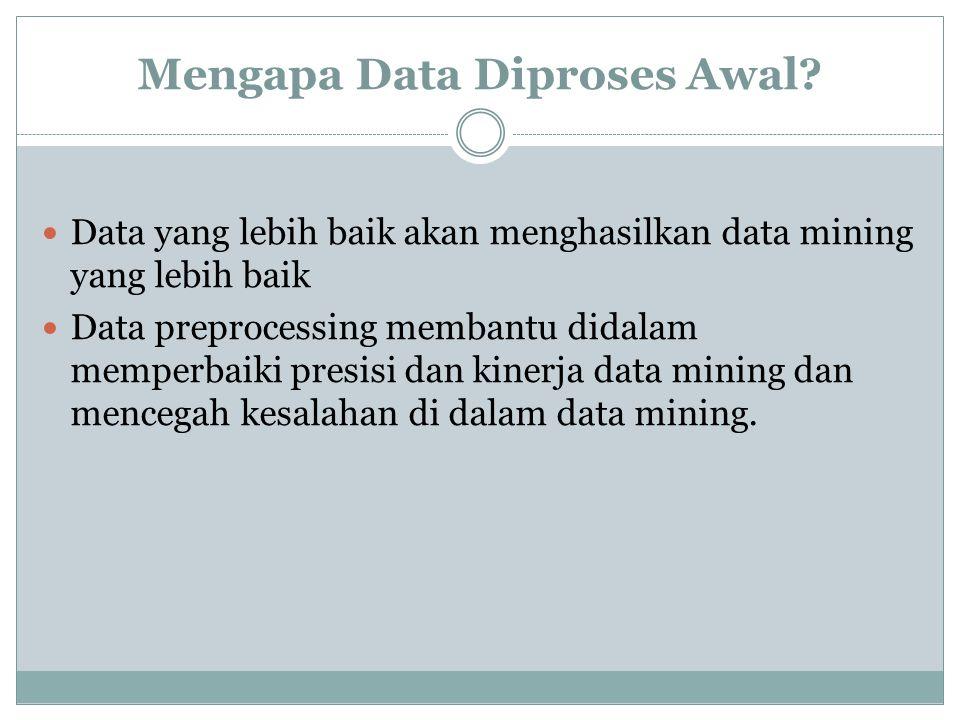 Mengapa Data Diproses Awal? Data yang lebih baik akan menghasilkan data mining yang lebih baik Data preprocessing membantu didalam memperbaiki presisi