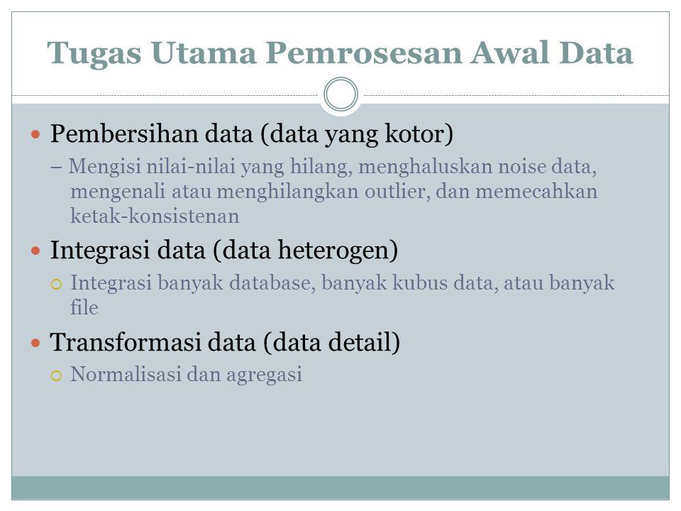 Tugas Utama Pemrosesan Awal Data Pembersihan data (data yang kotor) – Mengisi nilai-nilai yang hilang, menghaluskan noise data, mengenali atau menghil