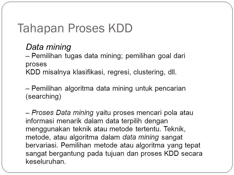 Tahapan Proses KDD Data mining – Pemilihan tugas data mining; pemilihan goal dari proses KDD misalnya klasifikasi, regresi, clustering, dll. – Pemilih