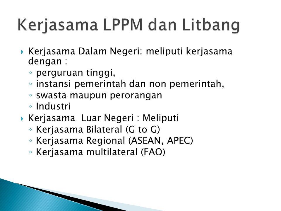 Kerjasama Dalam Negeri: meliputi kerjasama dengan : ◦ perguruan tinggi, ◦ instansi pemerintah dan non pemerintah, ◦ swasta maupun perorangan ◦ Industri  Kerjasama Luar Negeri : Meliputi ◦ Kerjasama Bilateral (G to G) ◦ Kerjasama Regional (ASEAN, APEC) ◦ Kerjasama multilateral (FAO)