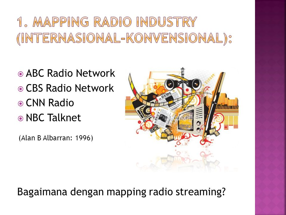  ABC Radio Network  CBS Radio Network  CNN Radio  NBC Talknet Bagaimana dengan mapping radio streaming.