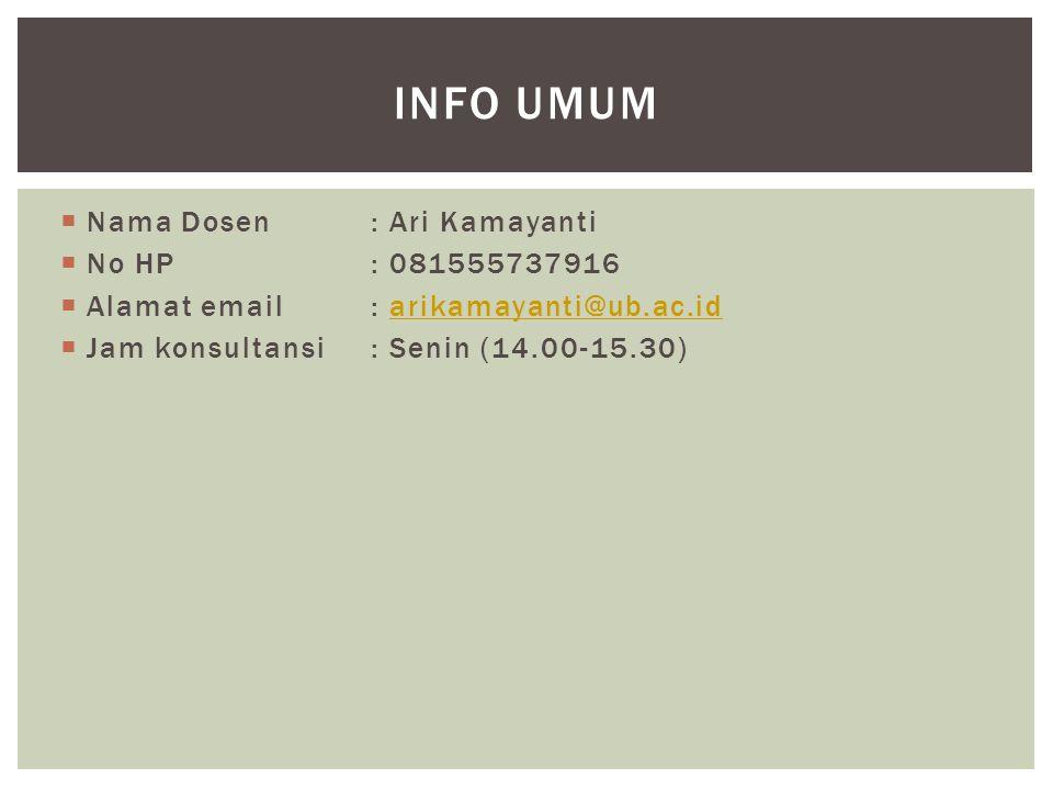  Nama Dosen: Ari Kamayanti  No HP: 081555737916  Alamat email: arikamayanti@ub.ac.idarikamayanti@ub.ac.id  Jam konsultansi: Senin (14.00-15.30) INFO UMUM
