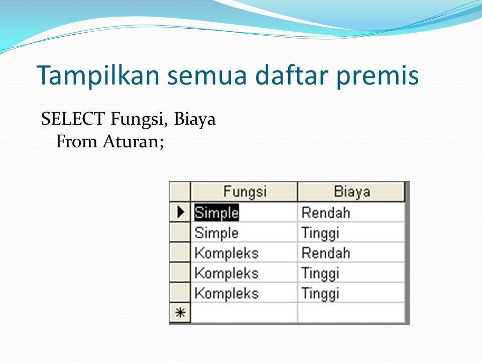 Tampilkan semua daftar premis SELECT Fungsi, Biaya From Aturan;