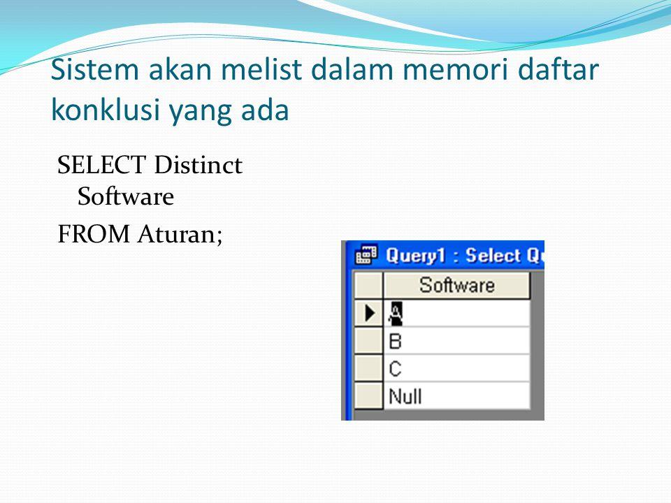 Sistem akan melist dalam memori daftar konklusi yang ada SELECT Distinct Software FROM Aturan;