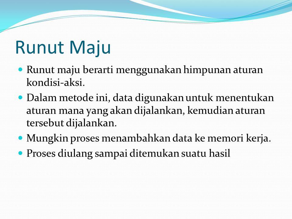 Runut Maju Runut maju berarti menggunakan himpunan aturan kondisi-aksi.