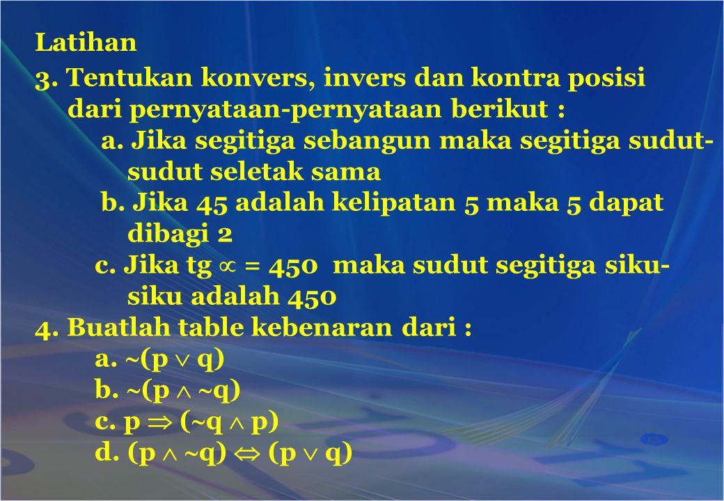 3. Tentukan konvers, invers dan kontra posisi dari pernyataan-pernyataan berikut : a. Jika segitiga sebangun maka segitiga sudut- sudut seletak sama b