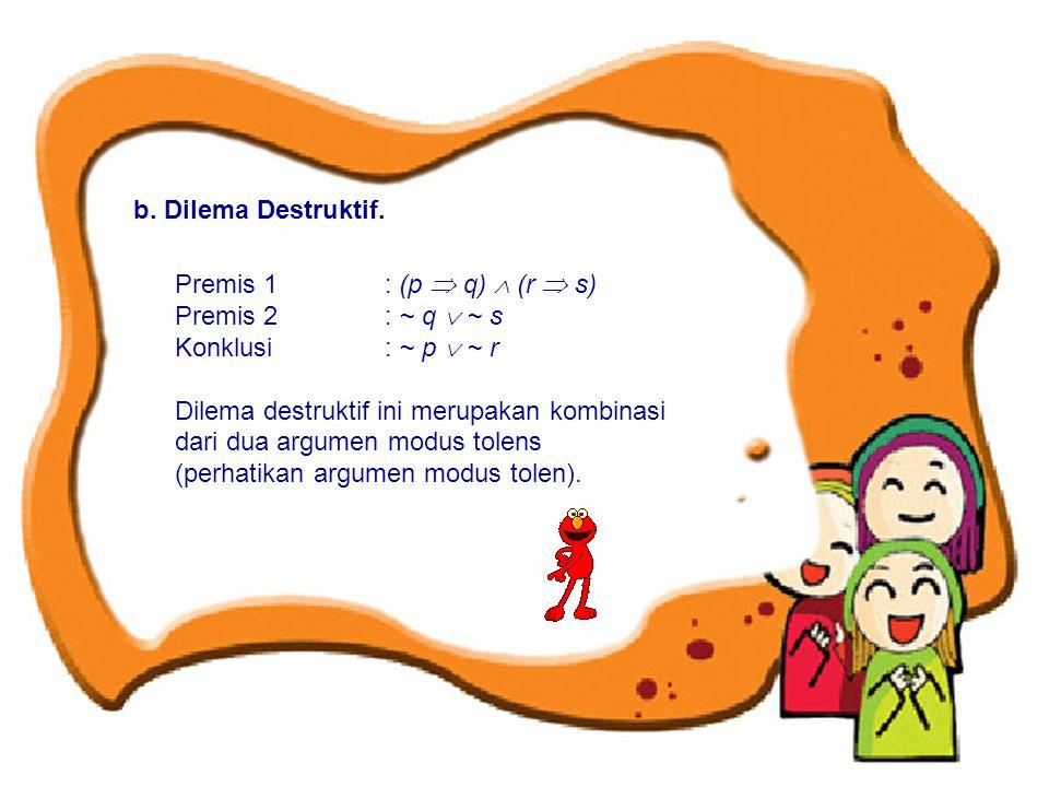 b. Dilema Destruktif. Premis 1 : (p  q)  (r  s) Premis 2 : ~ q  ~ s Konklusi : ~ p  ~ r Dilema destruktif ini merupakan kombinasi dari dua argume