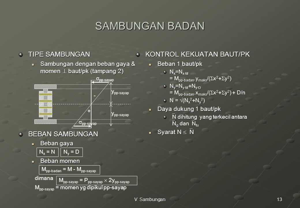 13V. Sambungan SAMBUNGAN BADAN TIPE SAMBUNGAN Sambungan dengan beban gaya & momen  baut/pk (tampang 2) Sambungan dengan beban gaya & momen  baut/pk