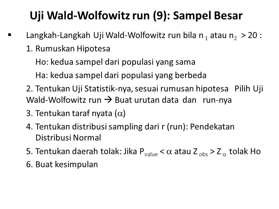 Uji Wald-Wolfowitz run (9): Sampel Besar  Langkah-Langkah Uji Wald-Wolfowitz run bila n 1 atau n 2 > 20 : 1.Rumuskan Hipotesa Ho: kedua sampel dari populasi yang sama Ha: kedua sampel dari populasi yang berbeda 2.Tentukan Uji Statistik-nya, sesuai rumusan hipotesa Pilih Uji Wald-Wolfowitz run  Buat urutan data dan run-nya 3.Tentukan taraf nyata (  ) 4.Tentukan distribusi sampling dari r (run): Pendekatan Distribusi Normal 5.Tentukan daerah tolak: Jika P value Z  tolak Ho 6.Buat kesimpulan