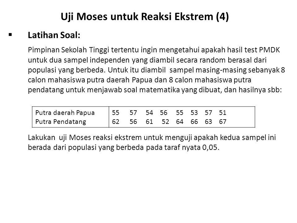 Uji Moses untuk Reaksi Ekstrem (4)  Latihan Soal: Pimpinan Sekolah Tinggi tertentu ingin mengetahui apakah hasil test PMDK untuk dua sampel independen yang diambil secara random berasal dari populasi yang berbeda.
