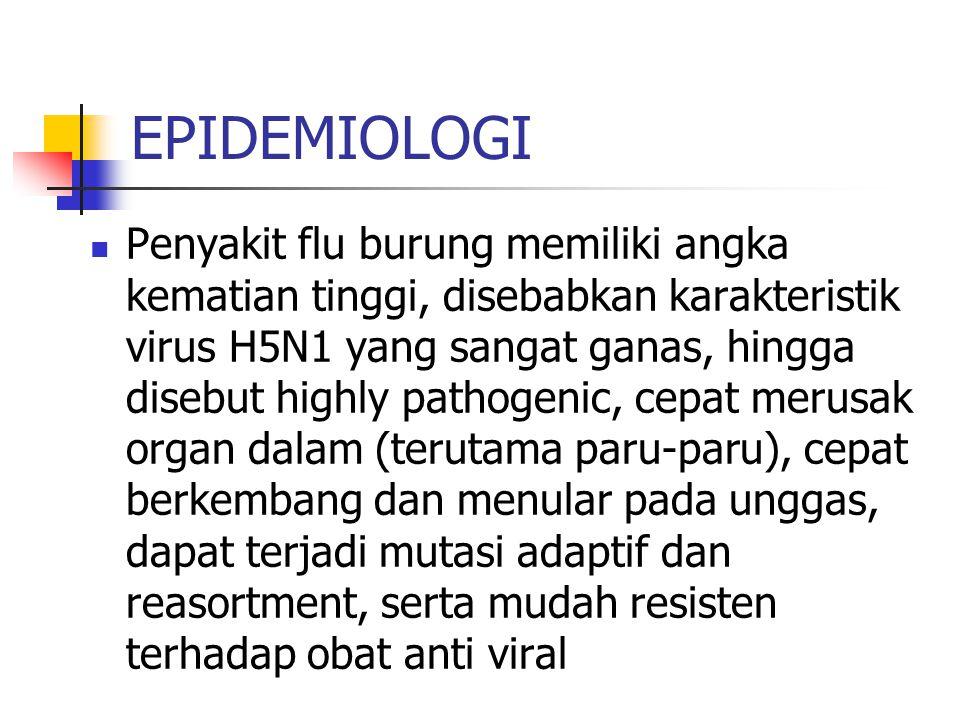 EPIDEMIOLOGI Penyakit flu burung memiliki angka kematian tinggi, disebabkan karakteristik virus H5N1 yang sangat ganas, hingga disebut highly pathogenic, cepat merusak organ dalam (terutama paru-paru), cepat berkembang dan menular pada unggas, dapat terjadi mutasi adaptif dan reasortment, serta mudah resisten terhadap obat anti viral