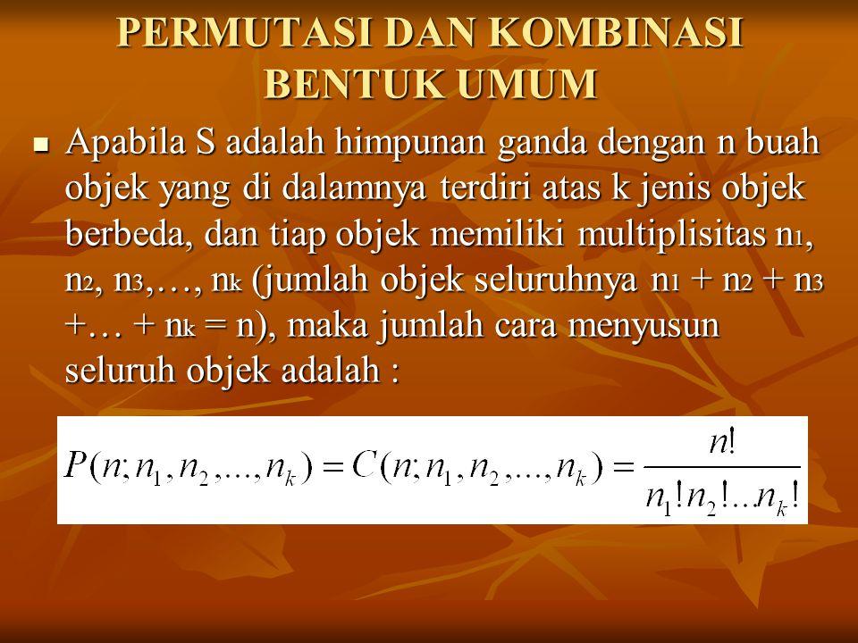 PERMUTASI DAN KOMBINASI BENTUK UMUM Apabila S adalah himpunan ganda dengan n buah objek yang di dalamnya terdiri atas k jenis objek berbeda, dan tiap
