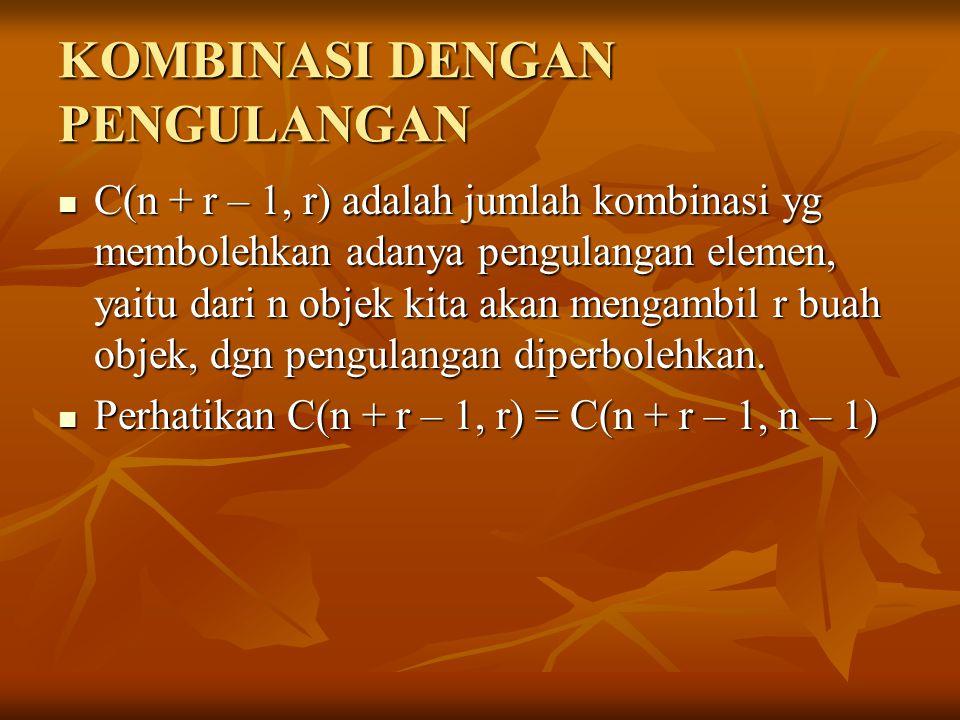 KOMBINASI DENGAN PENGULANGAN C(n + r – 1, r) adalah jumlah kombinasi yg membolehkan adanya pengulangan elemen, yaitu dari n objek kita akan mengambil