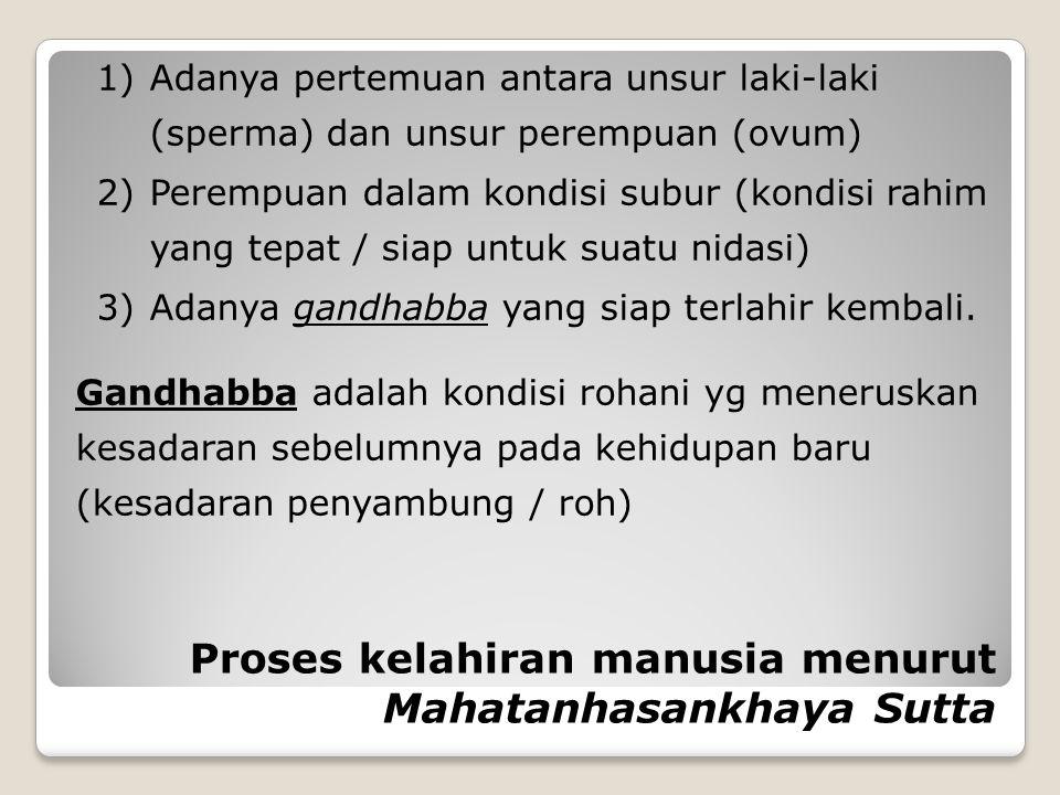 Proses kelahiran manusia menurut Mahatanhasankhaya Sutta 1)Adanya pertemuan antara unsur laki-laki (sperma) dan unsur perempuan (ovum) 2)Perempuan dal