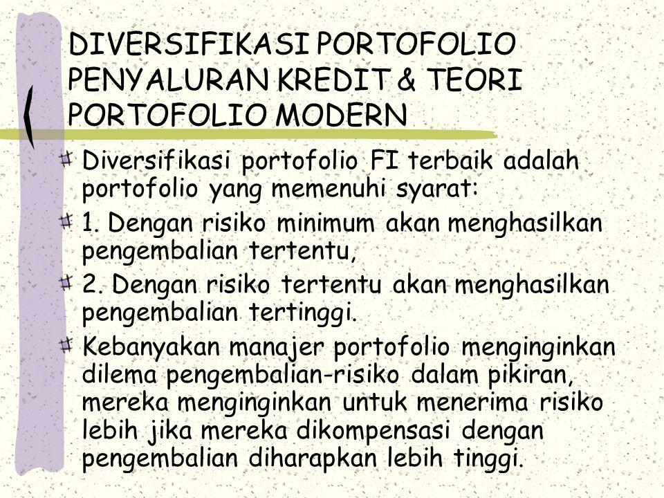 DIVERSIFIKASI PORTOFOLIO PENYALURAN KREDIT & TEORI PORTOFOLIO MODERN Diversifikasi portofolio FI terbaik adalah portofolio yang memenuhi syarat: 1. De