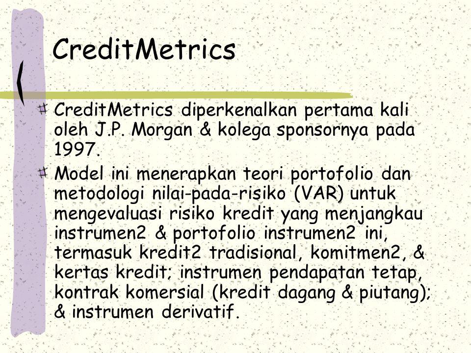 CreditMetrics CreditMetrics diperkenalkan pertama kali oleh J.P. Morgan & kolega sponsornya pada 1997. Model ini menerapkan teori portofolio dan metod