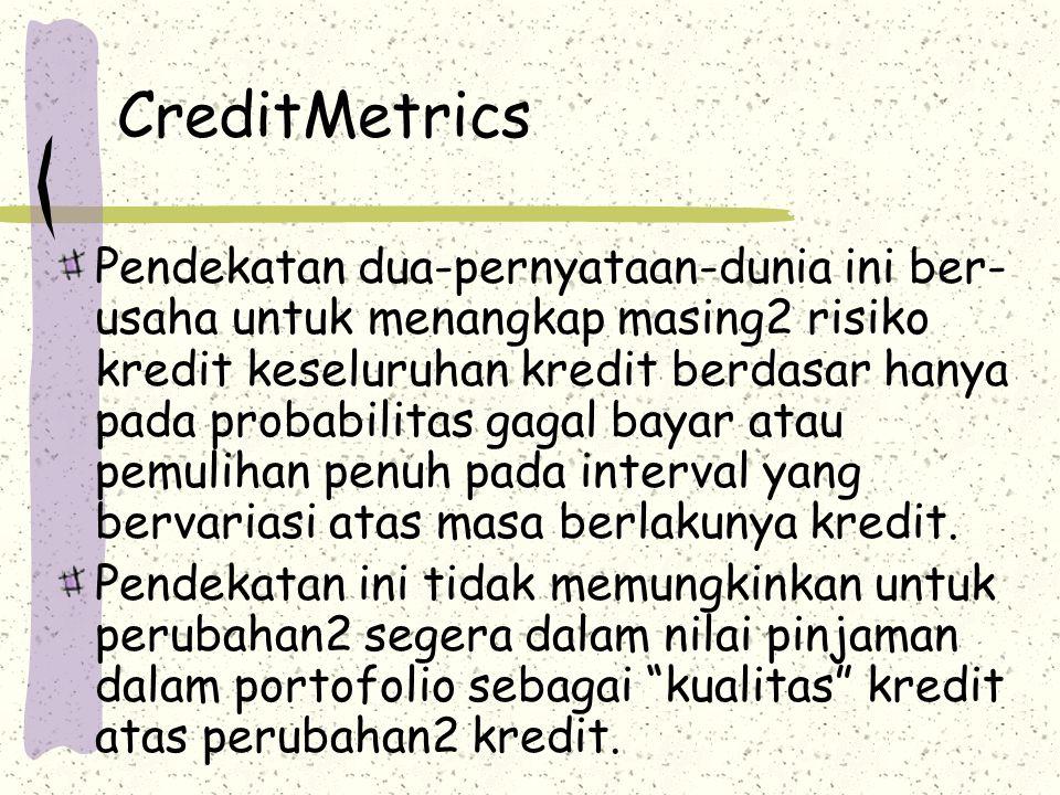CreditMetrics Pendekatan dua-pernyataan-dunia ini ber- usaha untuk menangkap masing2 risiko kredit keseluruhan kredit berdasar hanya pada probabilitas gagal bayar atau pemulihan penuh pada interval yang bervariasi atas masa berlakunya kredit.