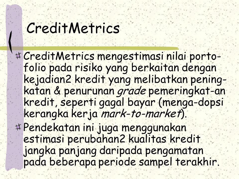 CreditMetrics CreditMetrics mengestimasi nilai porto- folio pada risiko yang berkaitan dengan kejadian2 kredit yang melibatkan pening- katan & penurun