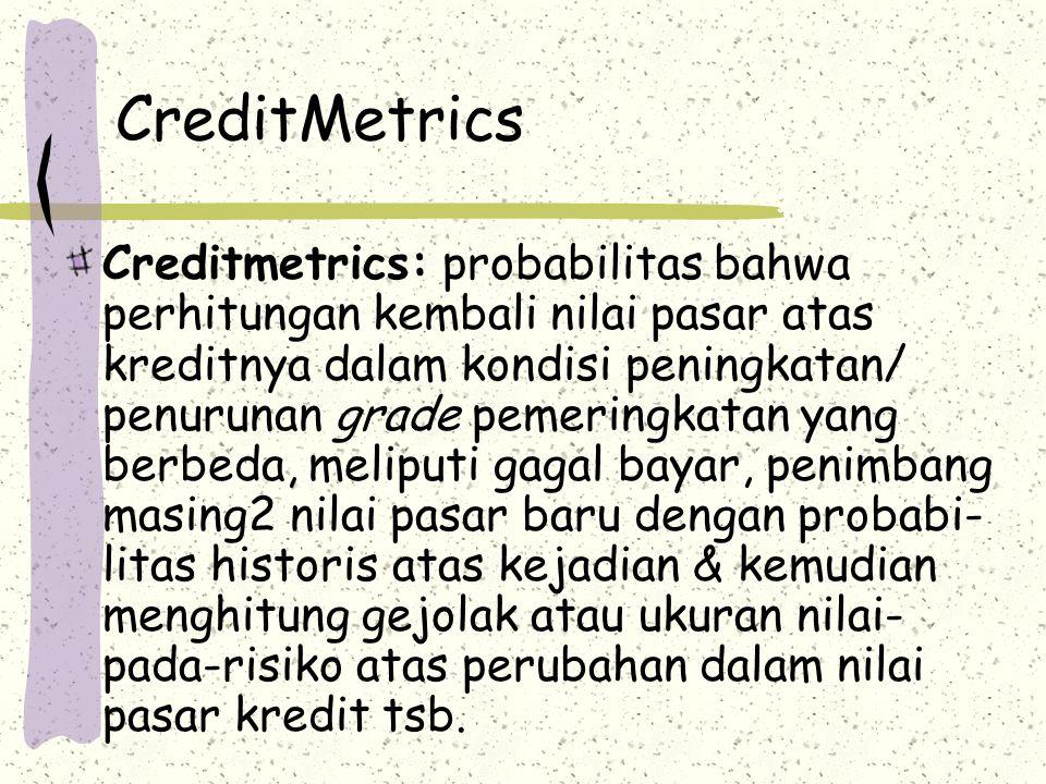 CreditMetrics Creditmetrics: probabilitas bahwa perhitungan kembali nilai pasar atas kreditnya dalam kondisi peningkatan/ penurunan grade pemeringkatan yang berbeda, meliputi gagal bayar, penimbang masing2 nilai pasar baru dengan probabi- litas historis atas kejadian & kemudian menghitung gejolak atau ukuran nilai- pada-risiko atas perubahan dalam nilai pasar kredit tsb.