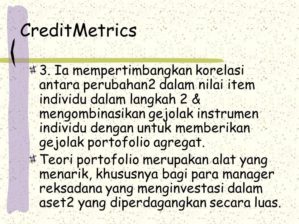 CreditMetrics 3. Ia mempertimbangkan korelasi antara perubahan2 dalam nilai item individu dalam langkah 2 & mengombinasikan gejolak instrumen individu