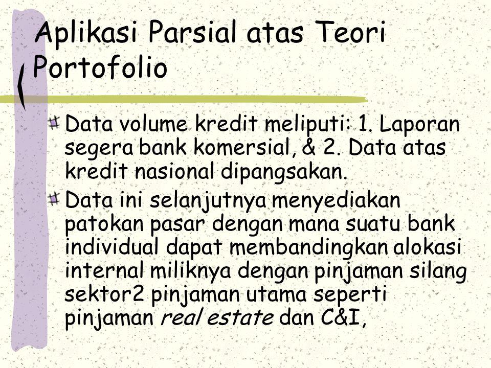 Aplikasi Parsial atas Teori Portofolio Data volume kredit meliputi: 1. Laporan segera bank komersial, & 2. Data atas kredit nasional dipangsakan. Data