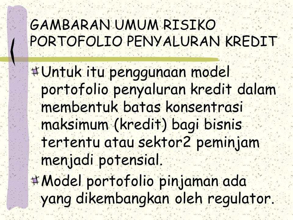 GAMBARAN UMUM RISIKO PORTOFOLIO PENYALURAN KREDIT Untuk itu penggunaan model portofolio penyaluran kredit dalam membentuk batas konsentrasi maksimum (