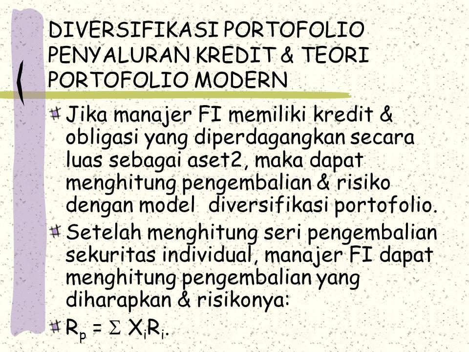 DIVERSIFIKASI PORTOFOLIO PENYALURAN KREDIT & TEORI PORTOFOLIO MODERN  p 2 =  X i 2  i 2 +   X i X j  ij.