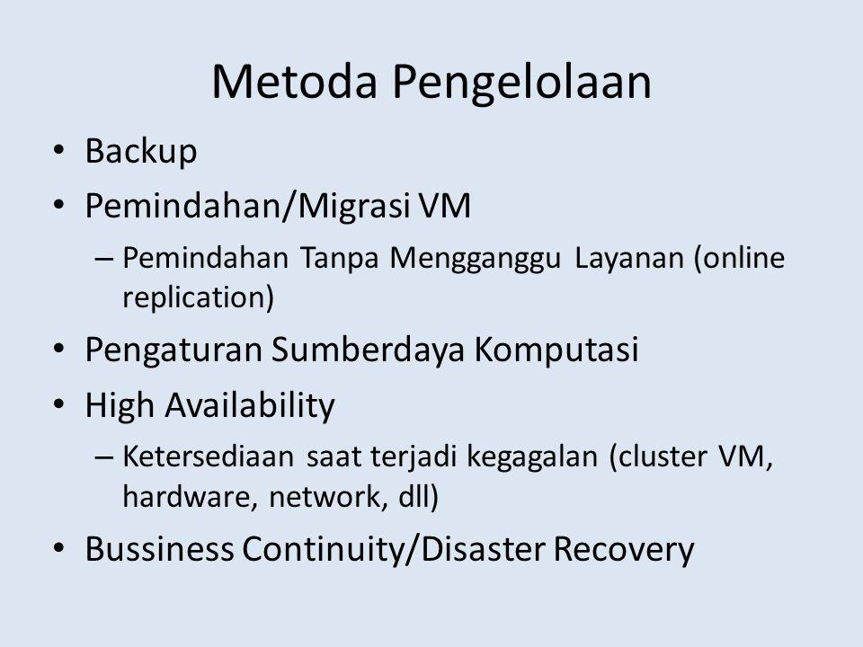 Metoda Pengelolaan Backup Pemindahan/Migrasi VM – Pemindahan Tanpa Mengganggu Layanan (online replication) Pengaturan Sumberdaya Komputasi High Availability – Ketersediaan saat terjadi kegagalan (cluster VM, hardware, network, dll) Bussiness Continuity/Disaster Recovery