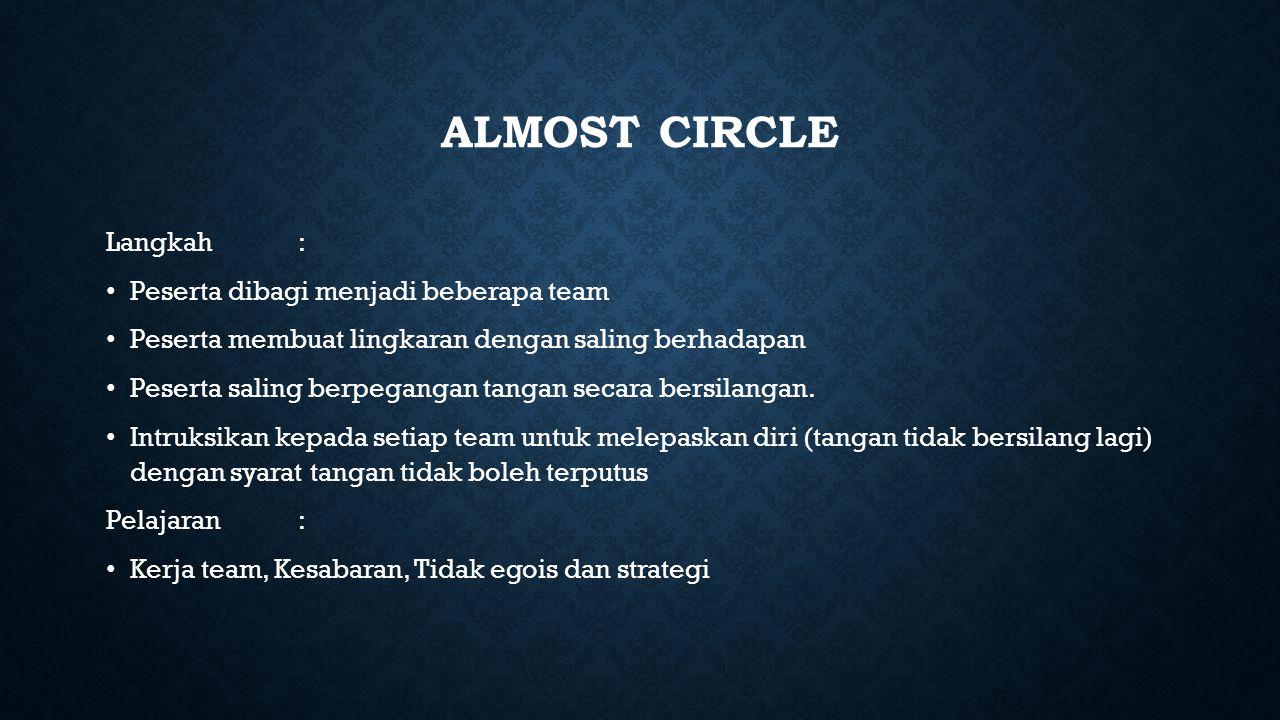 ALMOST CIRCLE Langkah: Peserta dibagi menjadi beberapa team Peserta membuat lingkaran dengan saling berhadapan Peserta saling berpegangan tangan secara bersilangan.