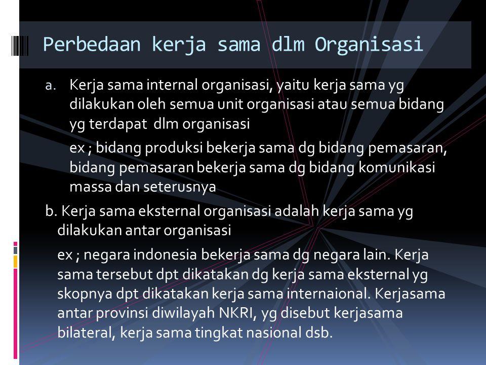 a. Kerja sama internal organisasi, yaitu kerja sama yg dilakukan oleh semua unit organisasi atau semua bidang yg terdapat dlm organisasi ex ; bidang p