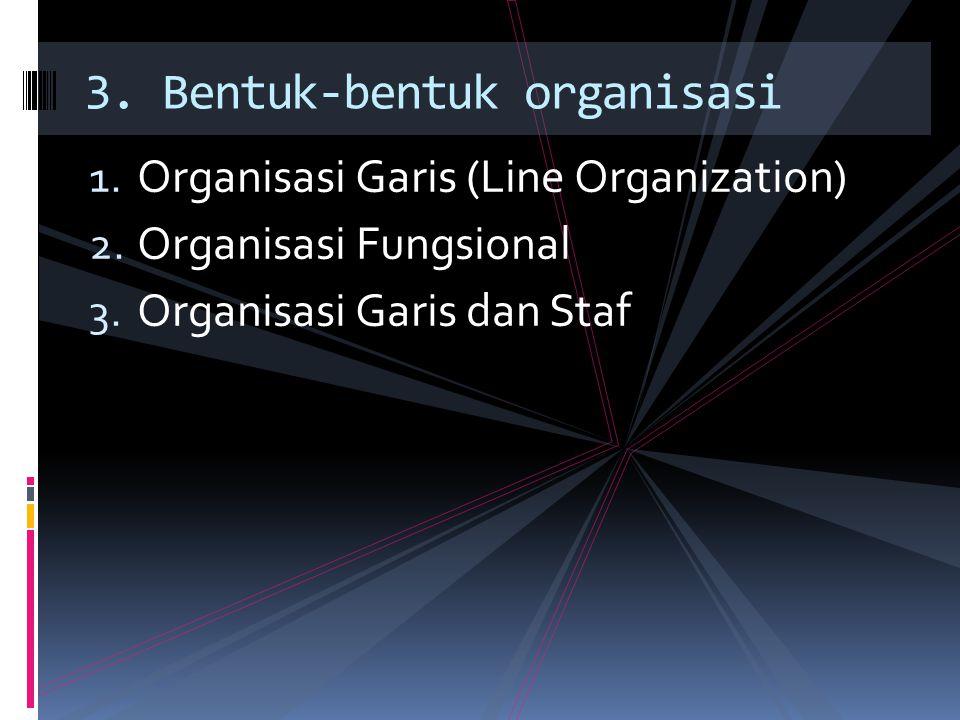 1.Organisasi Garis (Line Organization) 2. Organisasi Fungsional 3.