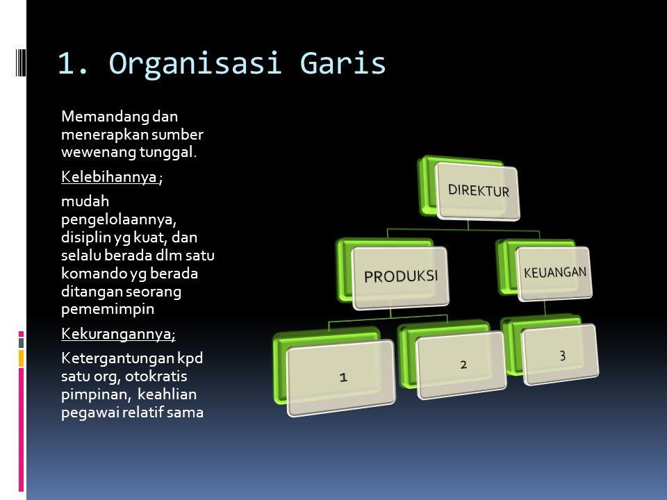 1. Organisasi Garis Memandang dan menerapkan sumber wewenang tunggal.