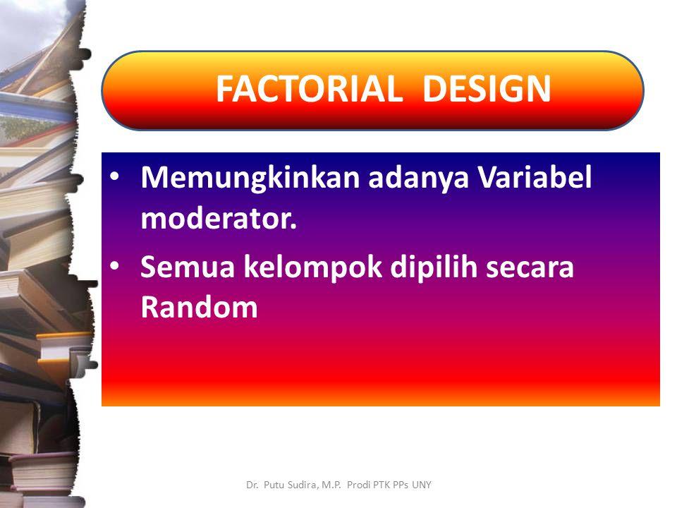FACTORIAL DESIGN Dr. Putu Sudira, M.P. Prodi PTK PPs UNY Memungkinkan adanya Variabel moderator. Semua kelompok dipilih secara Random