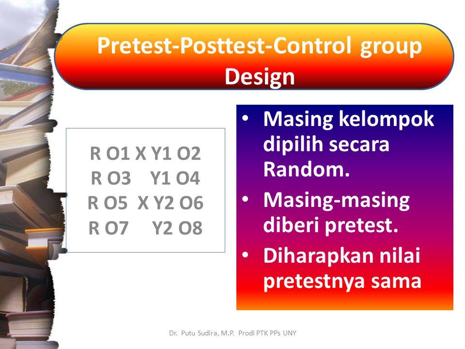 Pretest-Posttest-Control group Design Dr. Putu Sudira, M.P. Prodi PTK PPs UNY Masing kelompok dipilih secara Random. Masing-masing diberi pretest. Dih