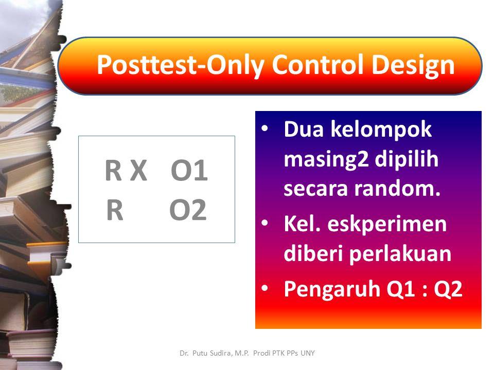 Posttest-Only Control Design Dr. Putu Sudira, M.P. Prodi PTK PPs UNY Dua kelompok masing2 dipilih secara random. Kel. eskperimen diberi perlakuan Peng