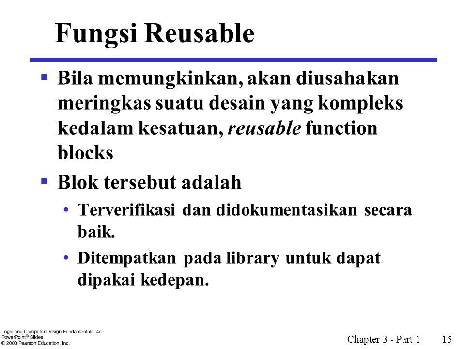 Chapter 3 - Part 1 15 Fungsi Reusable  Bila memungkinkan, akan diusahakan meringkas suatu desain yang kompleks kedalam kesatuan, reusable function blocks  Blok tersebut adalah Terverifikasi dan didokumentasikan secara baik.