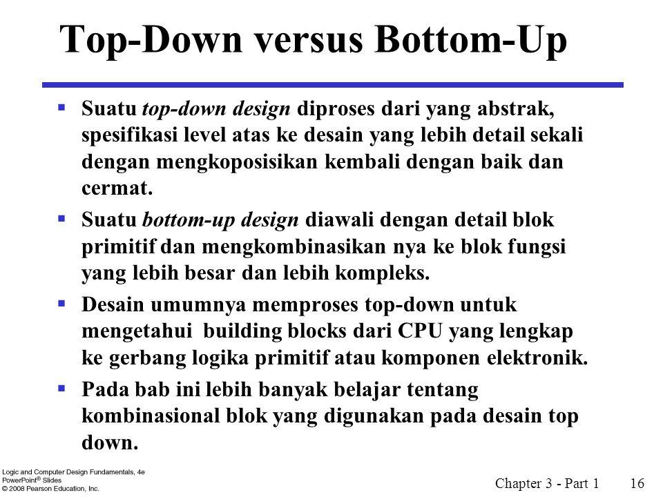 Chapter 3 - Part 1 16 Top-Down versus Bottom-Up  Suatu top-down design diproses dari yang abstrak, spesifikasi level atas ke desain yang lebih detail sekali dengan mengkoposisikan kembali dengan baik dan cermat.