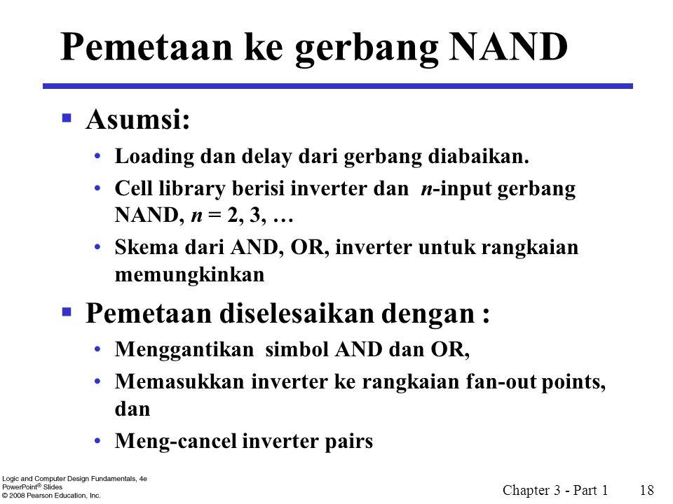 Chapter 3 - Part 1 18 Pemetaan ke gerbang NAND  Asumsi: Loading dan delay dari gerbang diabaikan. Cell library berisi inverter dan n-input gerbang NA