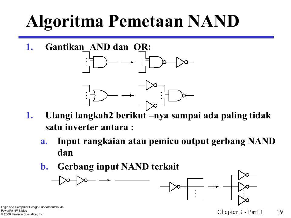 Chapter 3 - Part 1 19 Algoritma Pemetaan NAND 1.Gantikan AND dan OR: 1.Ulangi langkah2 berikut –nya sampai ada paling tidak satu inverter antara : a.I