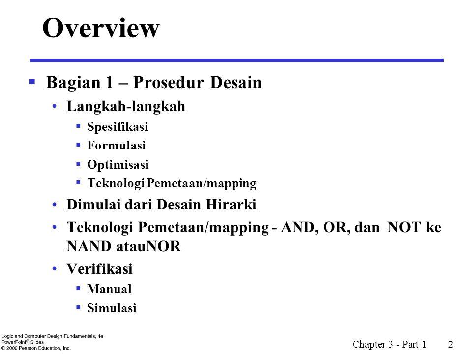 Chapter 3 - Part 1 2 Overview  Bagian 1 – Prosedur Desain Langkah-langkah  Spesifikasi  Formulasi  Optimisasi  Teknologi Pemetaan/mapping Dimulai