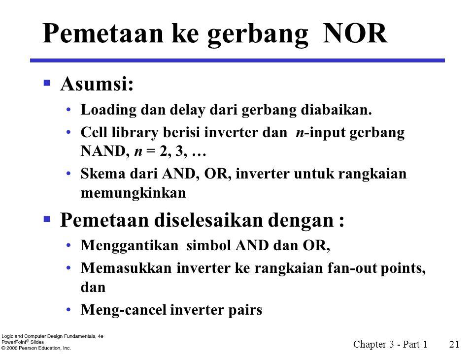 Chapter 3 - Part 1 21 Pemetaan ke gerbang NOR  Asumsi: Loading dan delay dari gerbang diabaikan. Cell library berisi inverter dan n-input gerbang NAN