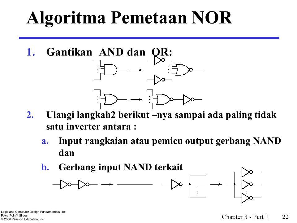Chapter 3 - Part 1 22 1.Gantikan AND dan OR: 2.Ulangi langkah2 berikut –nya sampai ada paling tidak satu inverter antara : a.Input rangkaian atau pemicu output gerbang NAND dan b.Gerbang input NAND terkait Algoritma Pemetaan NOR